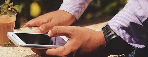 Man reviewing enterprise level mobile security