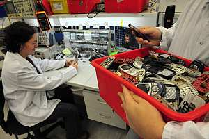 Electronic recycling employees collecting old phones